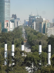 View up Reforma from Chapultepec Castle.