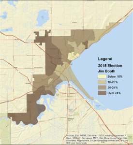 Jim Booth's performance, 2015 city council at-large election