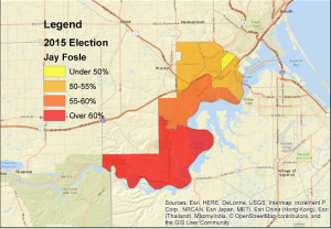 2015 5th District city council race, Jay Fosle vs. Janet Kennedy, shown in terms of Fosle's vote share