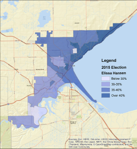 Elissa Hansen's performance, 2015 city council at-large election.