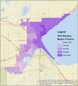 2015 Duluth Mayoral Race, shown as Emily Larson's margin of victory over Chuck Horton